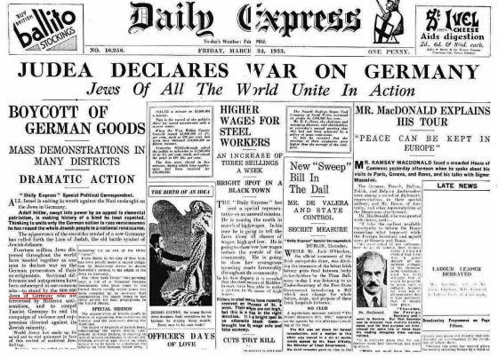 Jews of the world declare war on Germany