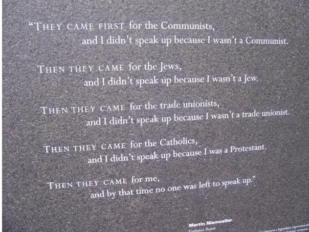 Plaque at Auschwitz.