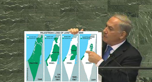 Photo Illustration. Prime minister of The Apartheid State Netanyahu at the United Nations.