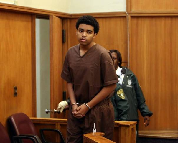 Indicted murderer Marc Wayafiyazhu, 15-year-old son of Canadian consul general Roxanne Dube appears in a Miami court room (Walter Michot, Miami Herald)
