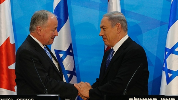 "Robert ""Rob"" Nicholson (left) is the member of parliament for Niagara Falls, Ontario. Nicholson, current Canadian foreign minister was previously defense minister and attorney general (photo: israel Prime Minister's Office)"
