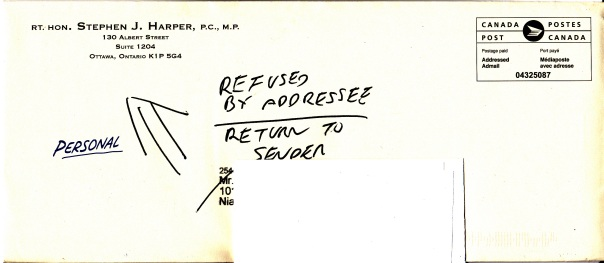 2015-10-05 Stephen Harper Fundraising Letter Envelope Refused