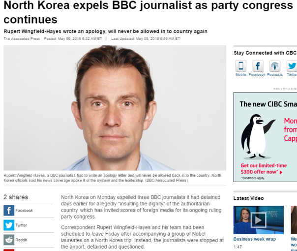 2016-05-14 08_34_50-North Korea expels BBC journalist as party congress continues - World - CBC News