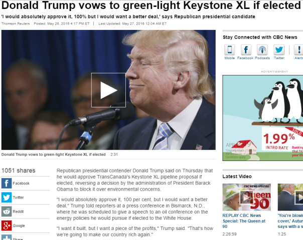2016-06-10 10_16_02-Donald Trump vows to green-light Keystone XL if elected - World - CBC News