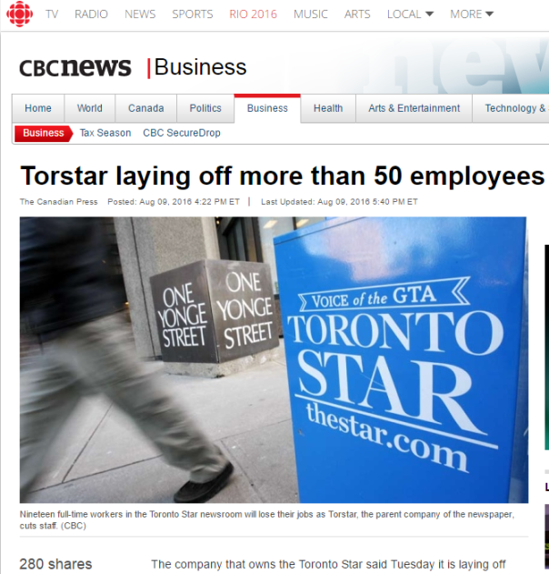 2016-08-10 03_49_01-Torstar laying off more than 50 employees - Business - CBC News