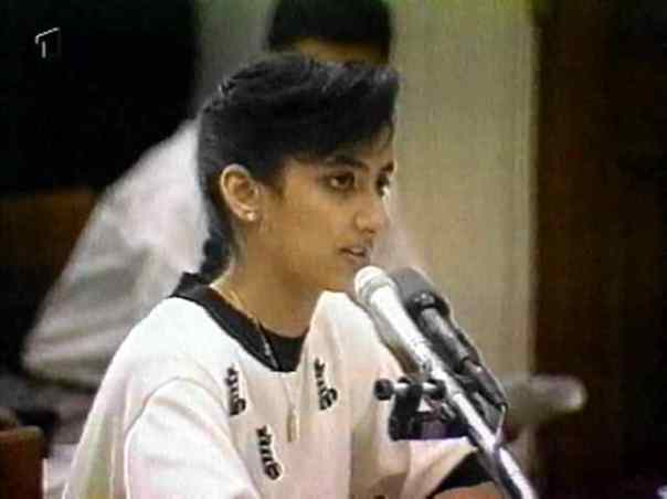 15-year-old war criminal Nayirah al-Sabah gives testimony before the U.S. Congress on October 10, 1990 about purported brutality by Iraqi troops, including killings of babies and theft of incubators from Kuwaiti hospitals.
