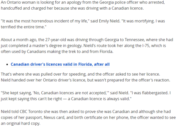 2018-05-09 14_41_42-Ontario woman arrested, jailed in U.S. for driving with a Canadian licence _ CBC
